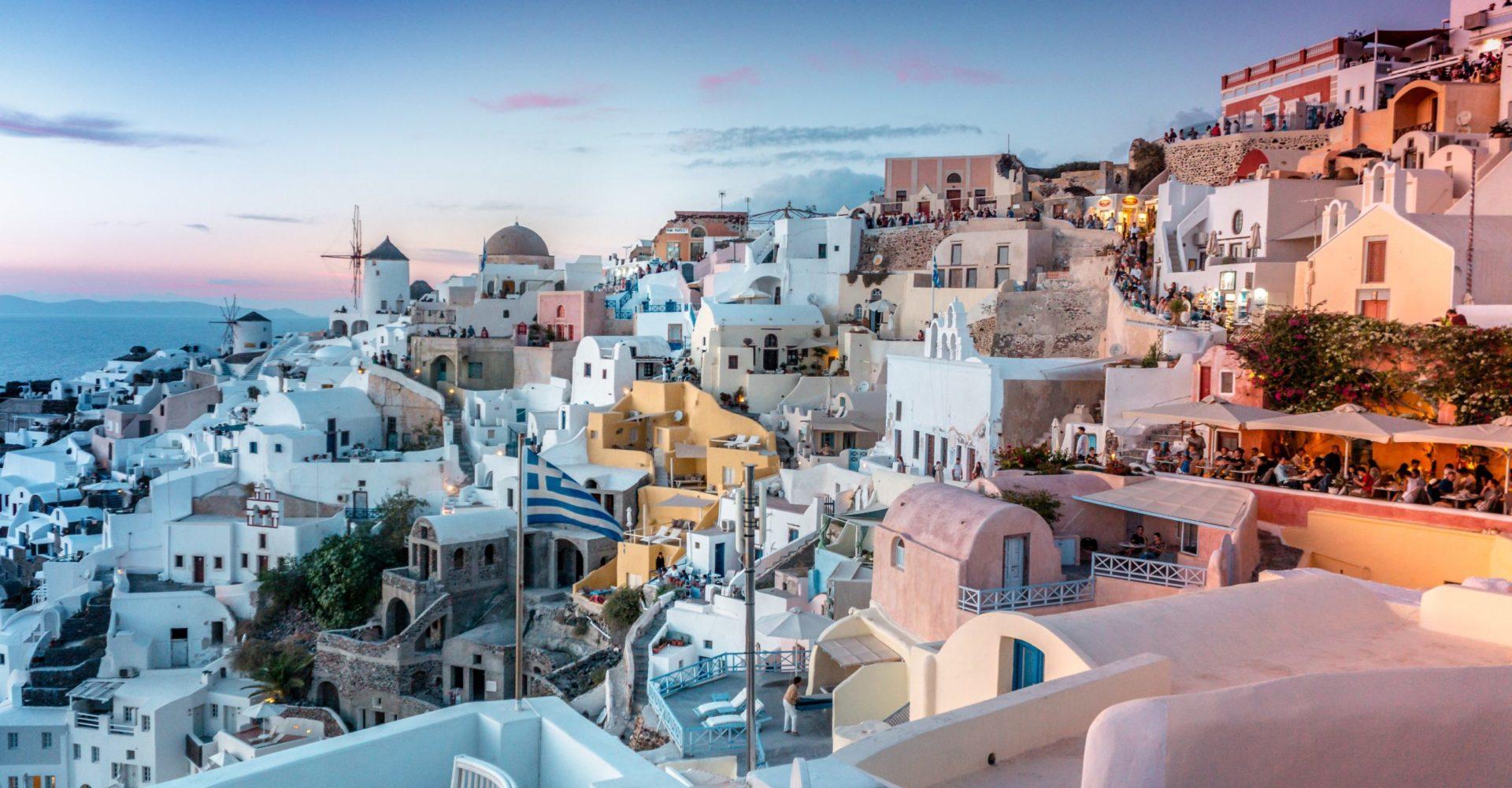 Greckie miasteczko na zboczu